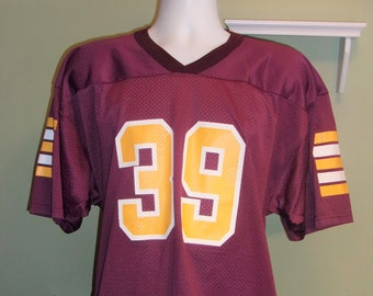 bd3c3747d Vintage Majestic Football Jersey Maroon Yellow  39 Made in USA Men s Large