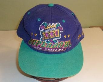 d547b76486b091 Vintage 1997 Starter Super Bowl XXXI Snapback Hat Cap Numbered 673/2500  Korea