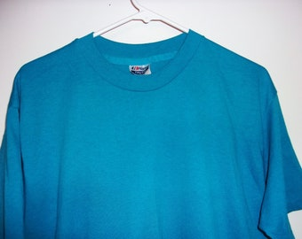 917bf94a Vintage 80s Hanes Fifty-Fifty 50-50 Solid Blue T-Shirt USA Mens Size Large