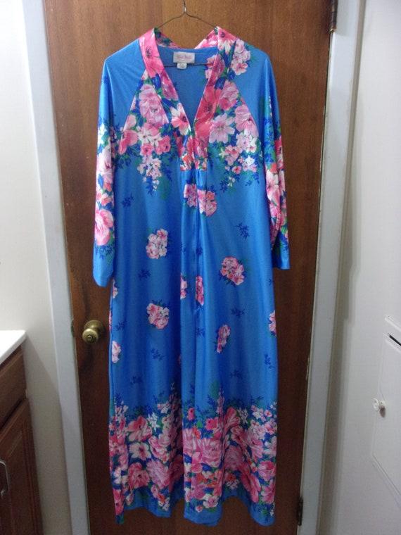 Vintage Reasa Martin Floral Housecoat Robe Long Du