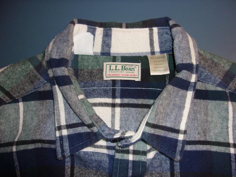 LL Bean Flannel Chamois Cloth Shirt Plaid USA Made 90s Mens XXL 2XL
