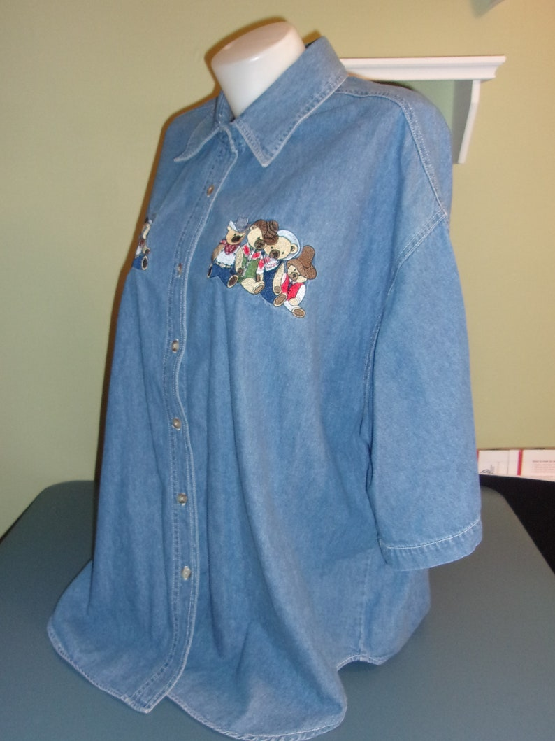 Vintage Quizz Denim Jean Embroidered Denim Shirt Bears Western Cowboy Womens 24