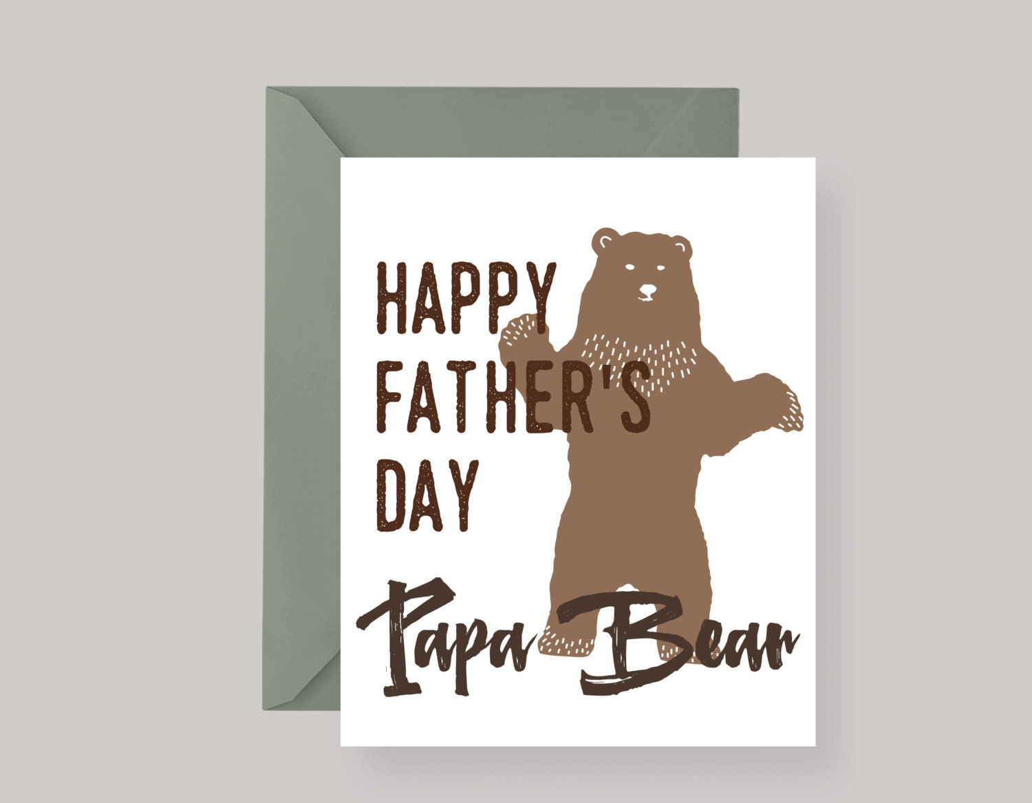Printed Papa Bear Fathers Day Greeting Cardfathers Etsy