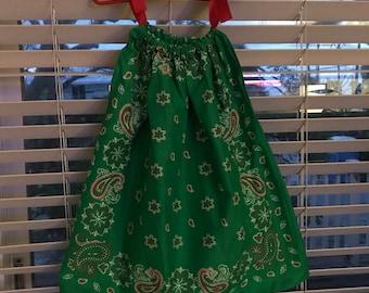 Christmas Girls Bandana/Pillowcase Dress
