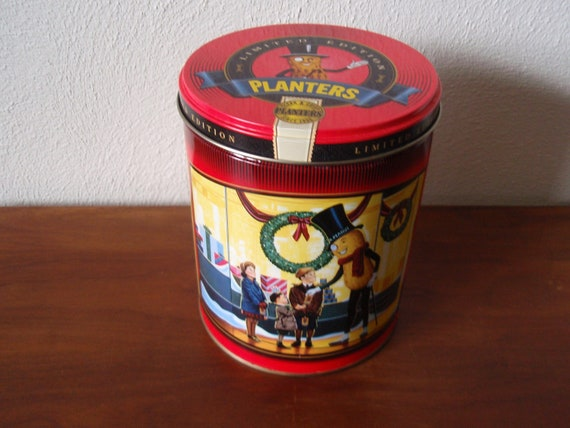 Christmas Planters Peanuts.Limited Edition Planters Peanuts Nuts Tin Can Container Christmas Holiday Graphics Empty Advertisement Christmas Accent D826