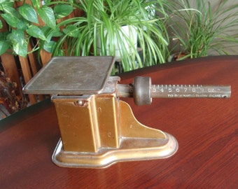 Triner Steel Postal Letter Mail Scale Mfg Chicago Ill Wonderful Rich Patina on Brass Balance Beam and Platform Collectible L1626