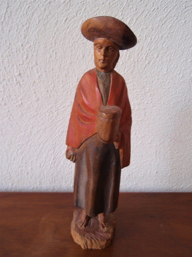 Hand Carved Wood European Woman Figure Hat Orange Cape Art and Collectibles Figurines and Knick Knacks e1369