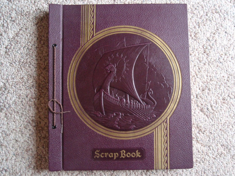 1935 Scrapbook Photo Album Dragon Viking Ship on the Cover  999a8270d1
