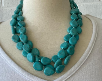 Turquoise necklace, chunky turquoise necklace, triple strand turquoise
