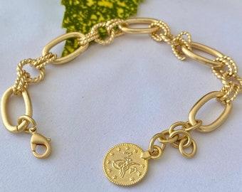 Chunky gold chain bracelet, gold bracelet with charm, gold link bracelet, matte gold bracelet