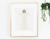 Family Rules (BIBLE VERSE) Calligraphy Art Print Poster A4 Christmas or Anniversary Gift Idea Home Decor