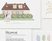 Custom Family and Home Illustration Personalized Gift Idea