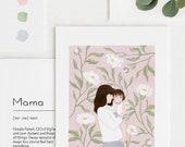 Custom Portrait With White Peony Background Gift Idea