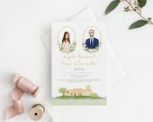 Wedding Invitation Handmade Personalized Illustration Portrait & Venue