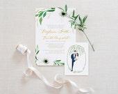 Wedding Invitation Beautiful Romantic Elegant White Floral Personalized Set of 25, 50 or 100 invitations