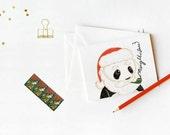 CHRISTMAS GREETINGS CARDS:  Merry Christmas Santa Panda