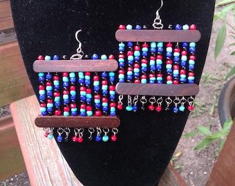 Colorful Wood  & Bead Earrings