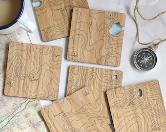 The Cairngorms Map Coasters: laser etched maps on oak, a gift for walkers, hikers, dads & groomsmen