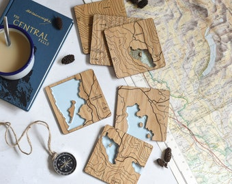 Lake District Coasters: laser etched maps on oak, a gift for walkers, hikers, dads & groomsmen