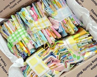 6 Oz Scraps. MULTI Color. Vintage Sheet Scrap Bundle. Stash Builder. Fabric Bundle. Floral. Gingham. Upcycle. Pink Yellow Green Blue Purple