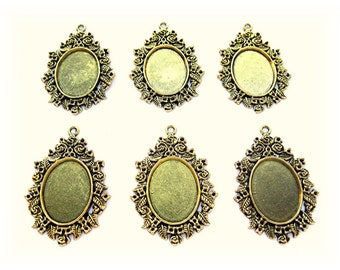 6 Ant BRONZE tone Roses /& Ferns style 25mm x 18mm CAMEO PENDANTS Frame Settings