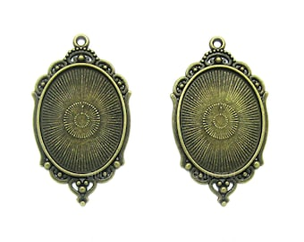 2 ANTIQUED Goldtone 40mm x 30mm CAMEO Princess Settings Frames Pendant Pendants 40mm x 30mm for Making Costume Jewelry or Crafts