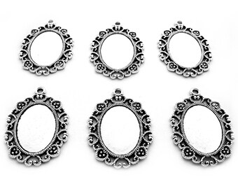 6 ANTIQUED Silvertone 18mm x 13mm Cameo Small MARTINA Style Goth Gothic Settings Frames Pendants for Earrings or Costume Jewelry or Crafts