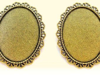 2 Antiqued GOLDTONE Gold Tone Jolie Style Brooch 40mm x 30mm CAMEO Frames Settings Pin Mountings for Making Costume Jewelry Crafts