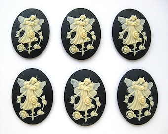 6 BEAUTIFUL FAIRY with Strand of Old English ROSES on Black color Cameos 40mm x 30mm Resin Cameo Lot for Making Costume Jewelry