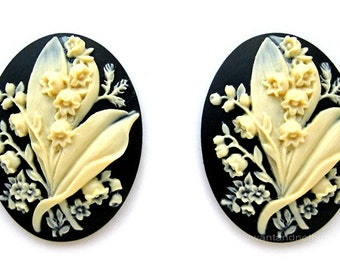 2 Lily of the Valley Bouquet Floral Flower May Ivory Color on Black 40mm x 30mm Resin CAMEOS LOT for Making Costume Jewelry