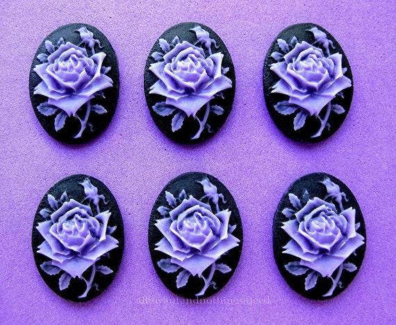 6 Roses Fleurs Rose Fonce Ou Violet Couleur Lavande Sur Noir Etsy