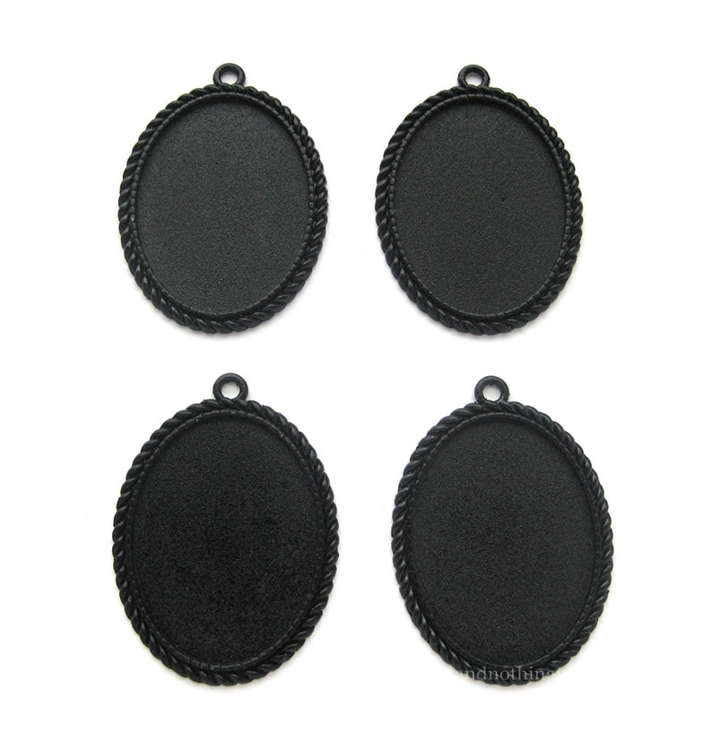4 BLACK METALLIC Nautical Braided Rope Style Settings 40mm x 30mm CAMEO  Frames Pendant Pendants 40mm x 30mm to Make Costume Jewelry Crafts