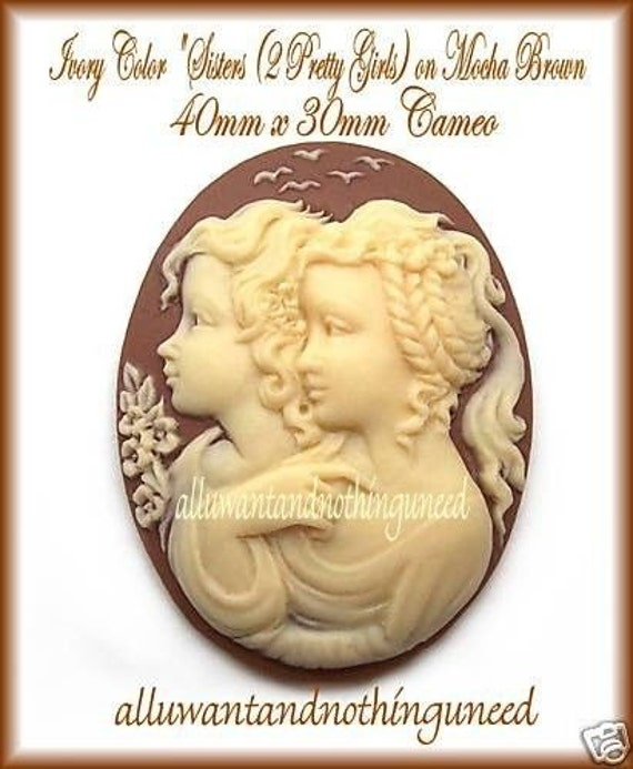 2 Ivory Color SISTERS TWINS Mother /& Daughter 2 Pretty Girls Best Friends on Black 40mm x 30mm Resin Cameos Lot for Making Costume Jewelry
