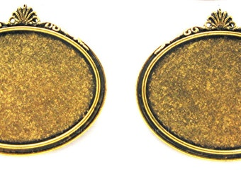 2 Antiqued GOLDTONE Rococo Shell Style Horizontal Brooch 40mm x 30mm CAMEO Frames Settings Pin Mountings for Making Costume Jewelry Crafts