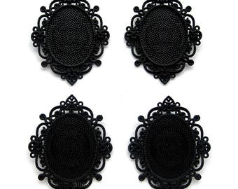 4 Metallic BLACK Color 40mm x 30mm CAMEO Imperial Style Settings Frames Pendant Pendants 40mm x 30mm for Making Costume Jewelry or Crafts