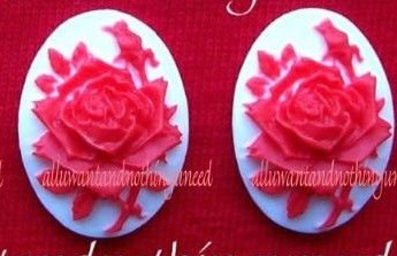 ac56147ae775a 2 Roses Floral Rose Roses Flower True Bright Red Color ROSE on a White  Background 40mm x 30mm Resin CAMEOS LOT for Making Costume Jewelry