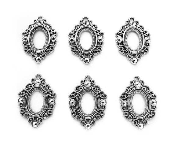 Set Of 6 Resin Lady Cameo Green Cabochon 18mm Small Jewellery Finding Craft