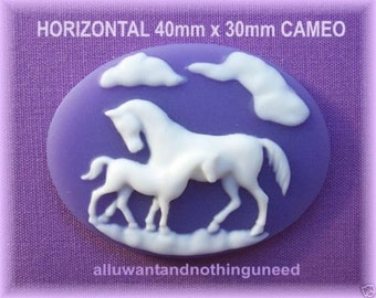 2 White Mother HORSE and Baby COLT Equine on Purple or Dark Lavender Horizontal Cameos 40mm x 30mm Resin Cameo Lot for Costume Jewelry