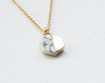 Howlite Necklace Marble Jewelry Colorblock Necklace Marble Triangle Colourblock Necklace Gold Marble Necklace 14K Gold Filled