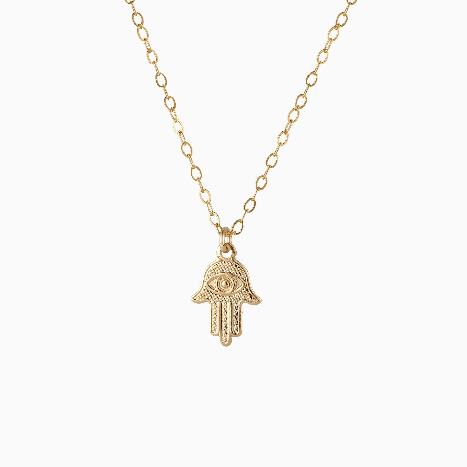 14k gold filled necklace filigree necklace hamsa hand Charm necklace protection good luck necklace charm necklace Evil eye necklace