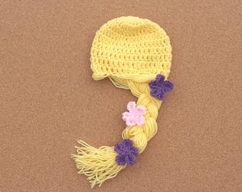Rapunzel Inspired Hat, Rapunzel Wig, Princess Hat, Princess Costume, Rapunzel Costume, Princess Wig, Crochet Princess Wig, Crochet Hat
