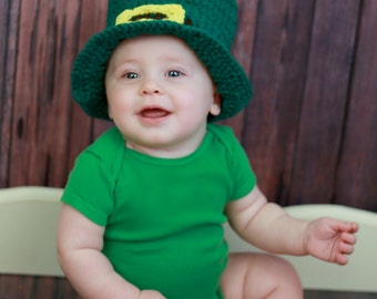 Crochet Baby Hat, St. Patrick's Day, Irish Baby, Baby Top Hat, Infant Boy Hat, Photography Prop, St. Patty's Hat, Baby Shower Gift