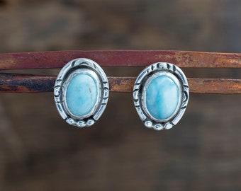 Larimar Stud Earrings Sterling Silver