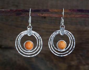Spiny Oyster Silver Drop Hoop Earrings