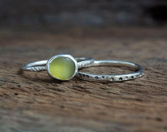 Sea Glass Stacking Ring Set Sterling Silver