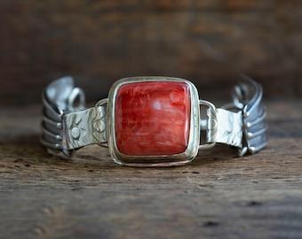 Red Spiny Oyster 2 Panel Bracelet