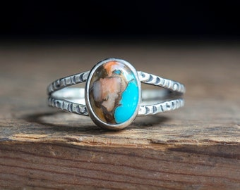 Spiny Oyster Ring Copper Turquoise Sterling Silver