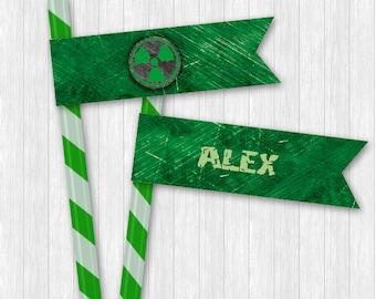Hulk Straw Flags