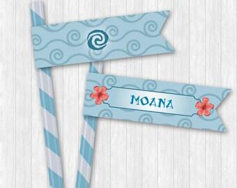 Moana Straw Flags