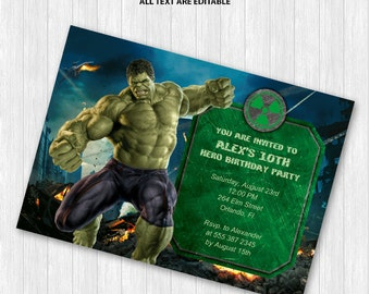 Hulk Party Invitation